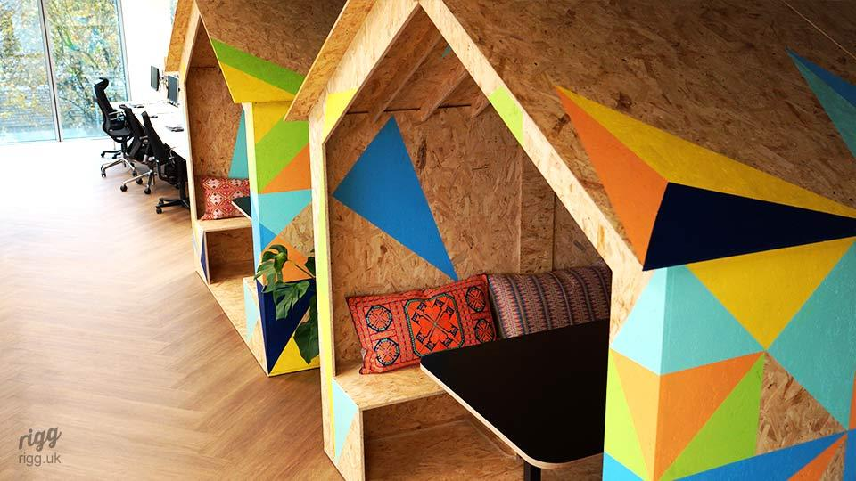OSB Office Pods with Geometric Pattern