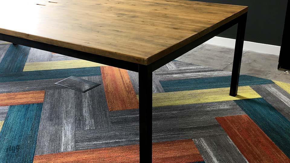 Rigg Quad Industrial Metal & Wood Office Table Milliken Carpet