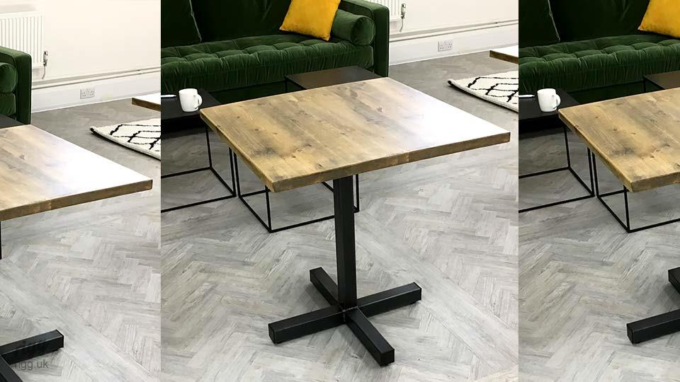 Wooden Industrial Bistro Table in Office Break Area