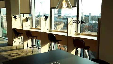 Plywood Office Booths, London Media Agency