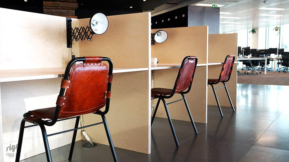 Geometric Style Plywood Work Booths with Dividers, Lamps & Seating