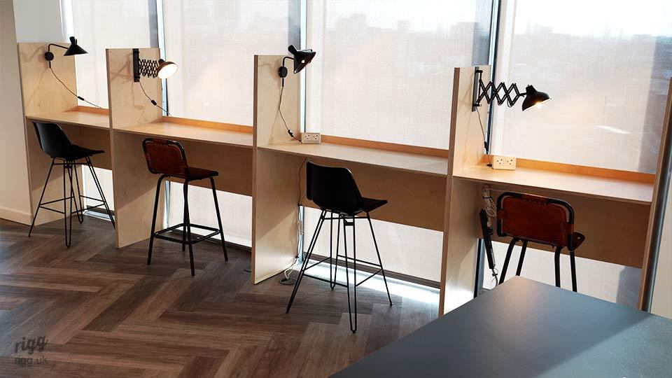 Plywood Office Booths with Dividers & Lighting
