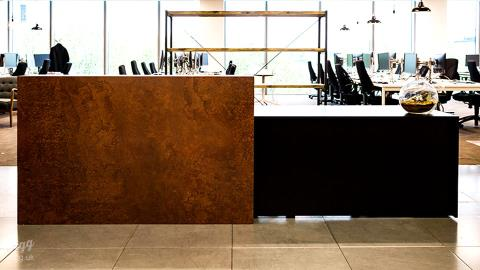 Reception Desk - Black with Industrial Rusty Metal Style Counter, London