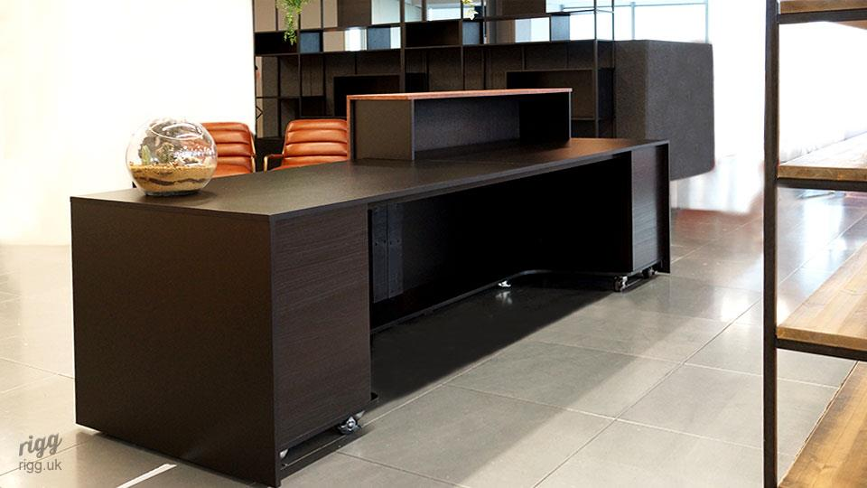 Black Reception Desk with Storage