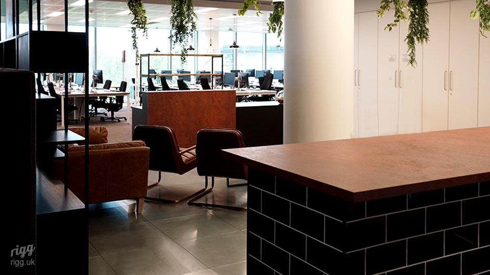 Reception Desk and Counter with Black Metro Tiles, London Office