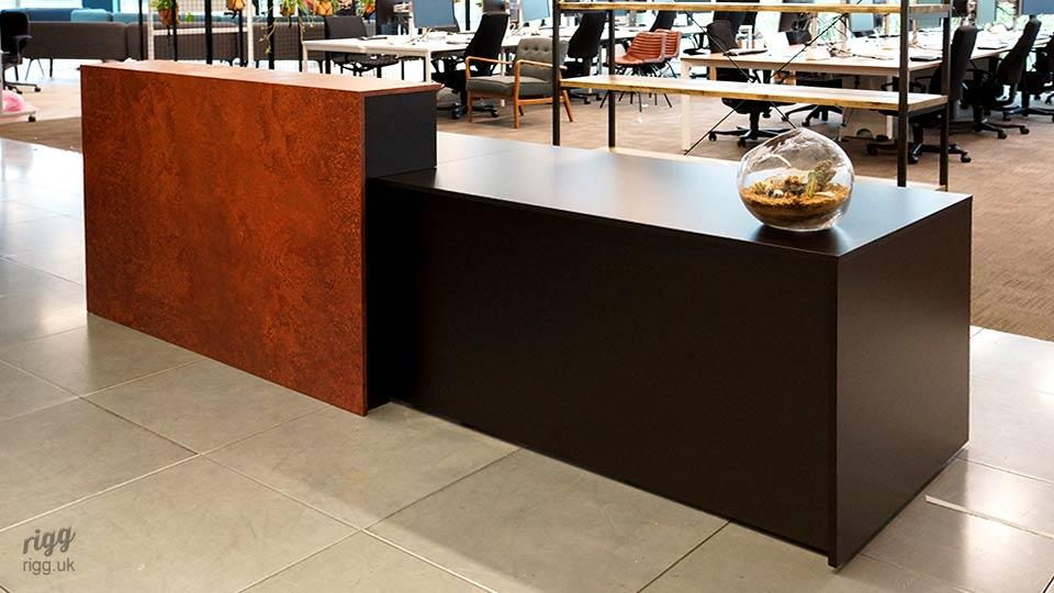 Reception Desk with Industrial Rusty Metal Feature