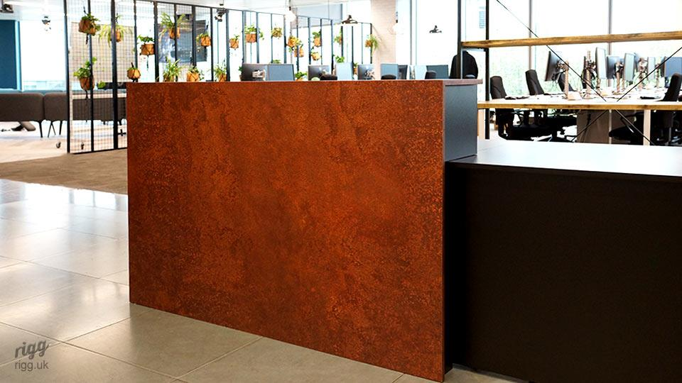 Rusty Old Metal Counter on Reception Desk in Office
