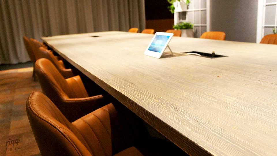 Cable Management on Large Solid Wood & Metal Conference Table