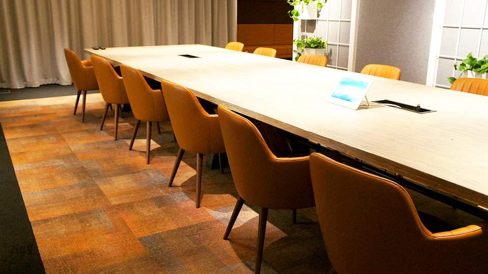 Conference Table with Timber Top & Large Metal Legs