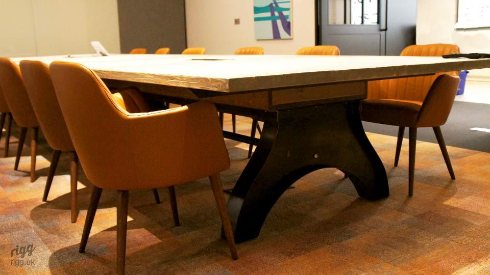 Large Curved Industrial Factory Style Leg on Boardroom Table
