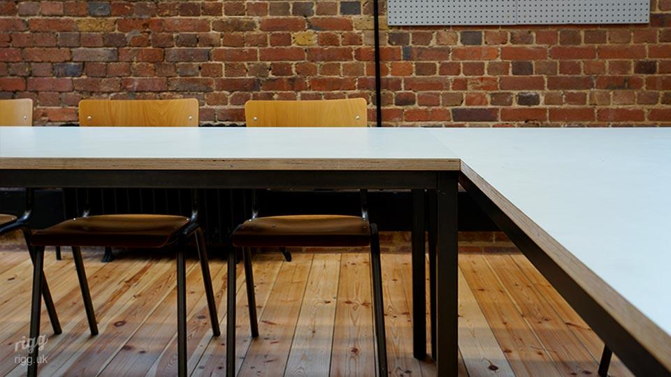 "Bespoke Classroom Desks Manufactured by Rigg - in ""U"" Shape with Industrial Style Chairs"