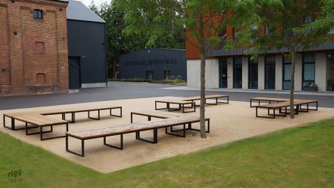 School Outdoor Furniture: Iroko Seating Benches, Canterbury