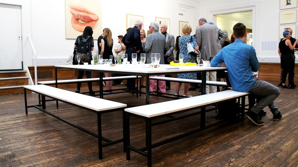 Wooden Top Tables & Benches with Metal Frame in Gallery Cafe