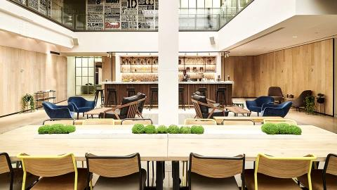 Social Space Tables with Oak & Marble Top on Castors, London