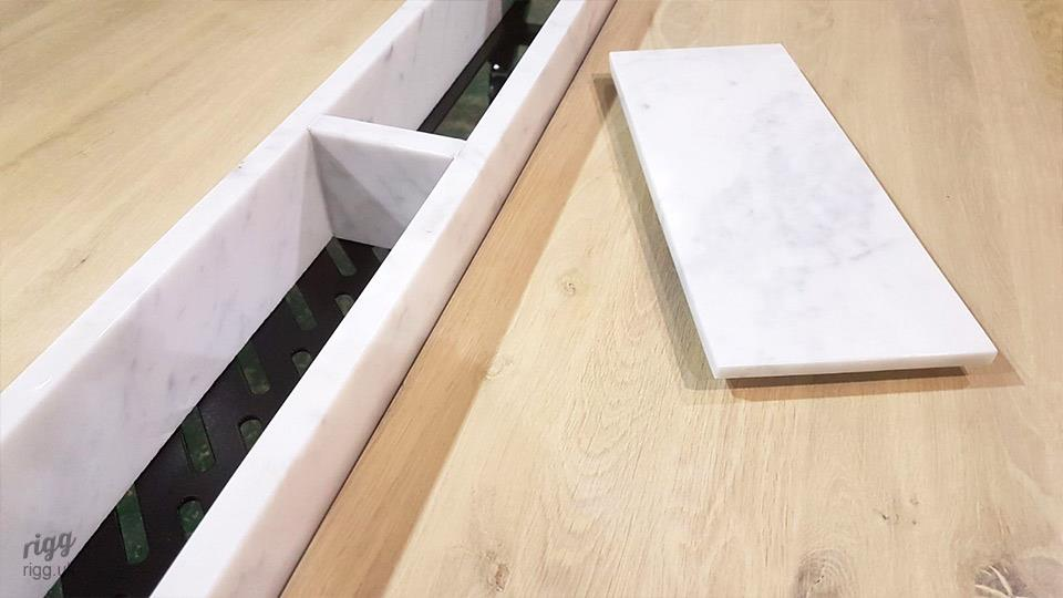 Bespoke Marble Planter & Cable Management in Workplace Oak Table, London