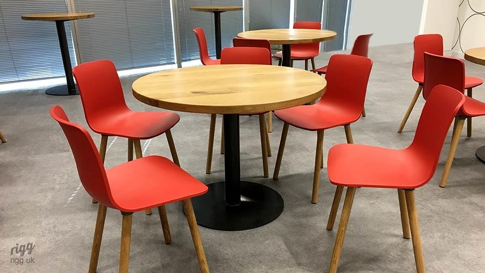 High and Low Round Oak Office Tables
