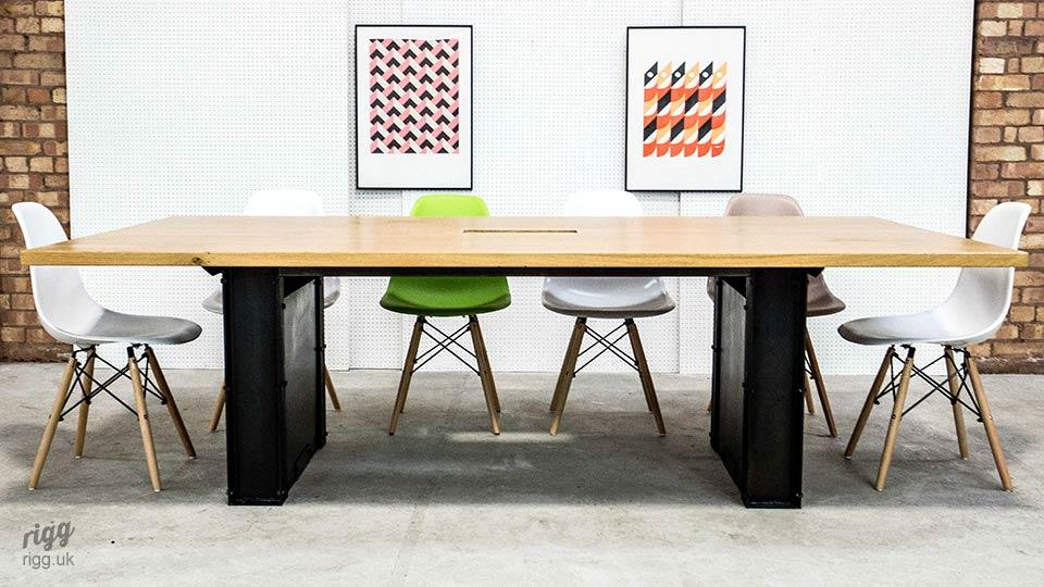Large Industrial Style Office Table, Cable Management