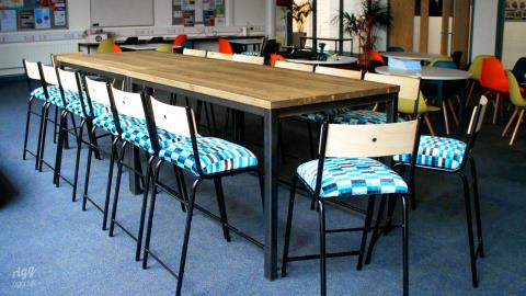 Bespoke Solid Wood High Tables & Stools - Goffs Academy, Cheshunt