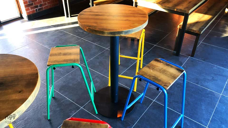 High Coloured Stools and Round Poseur Table
