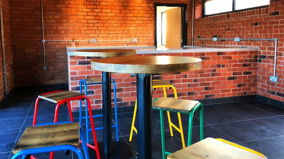 Round Poseur Tables and Stools with Wooden Top