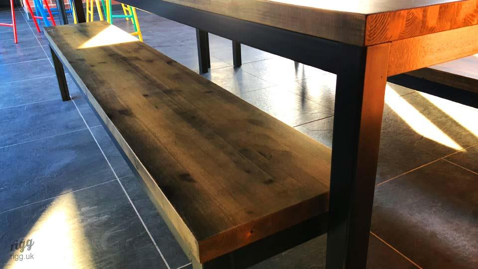Solid Timber and Steel Table and Benches