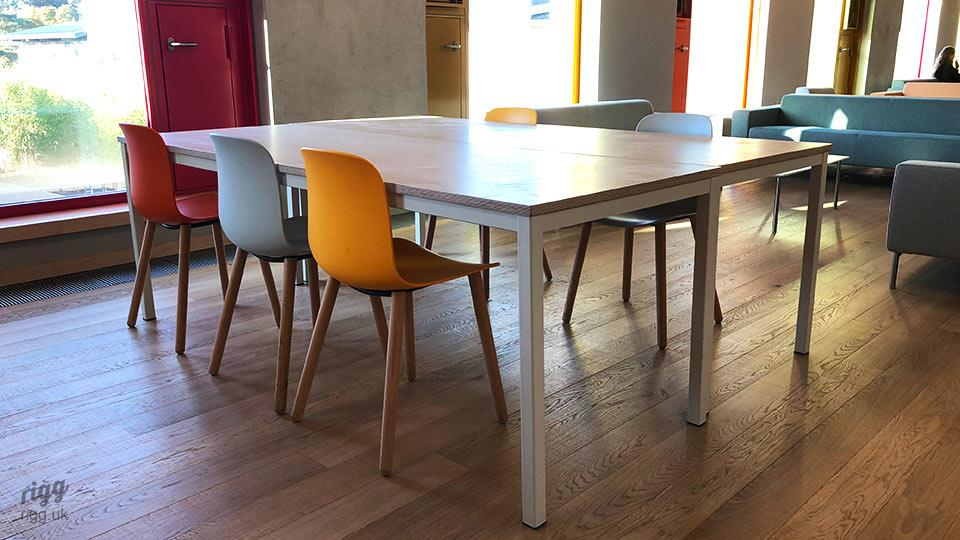6th Form Centre Tables with Birch Plywood Top, Light Grey Frame