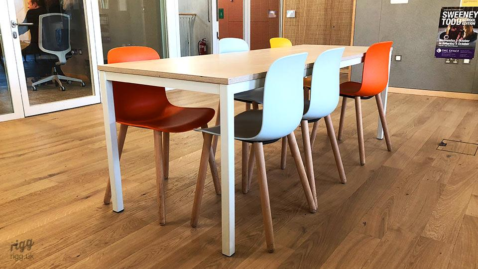 Robust School Tables in Birch Plywood with Steel Legs