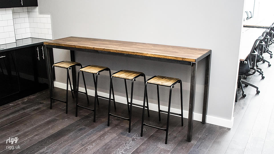 Industrial high table oak steel for High couch table