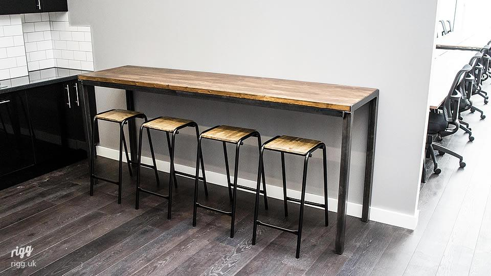 Industrial High Table Oak & Steel