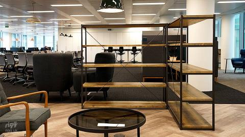 Wood & Metal Shelving for London Office of Global Digital Marketing Company