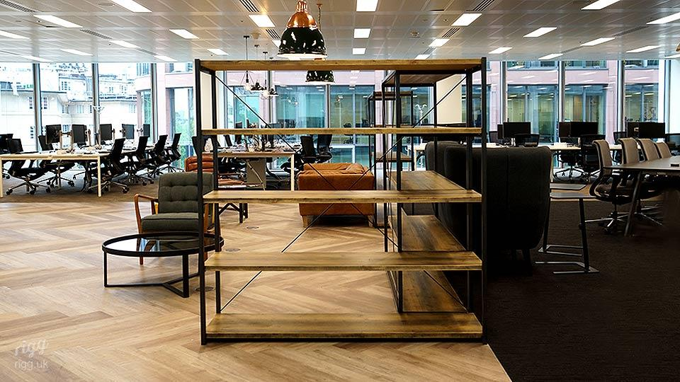 Office Fit-out of Steel Frame and Wood Shelving for Digital Marketing Business