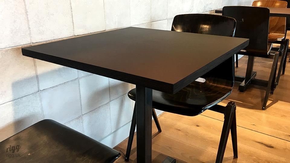 Black Square Plywood Linoleum Cafe Tables
