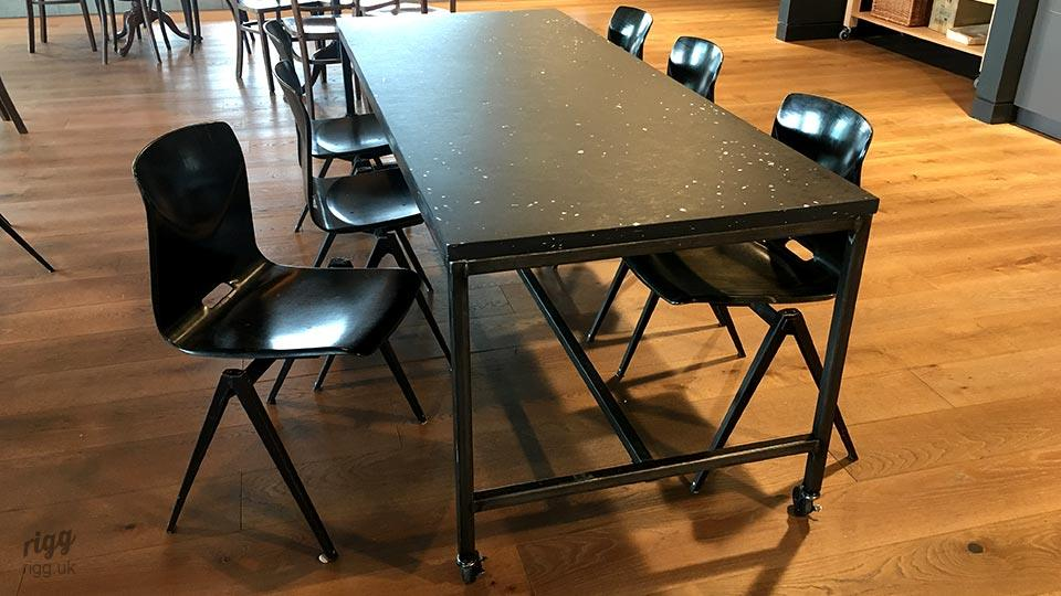 Industrial Metal Staff Dining Tables with Black Recycled Top