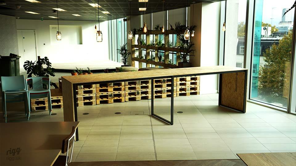 Long, High OSB Table with Metal Frame