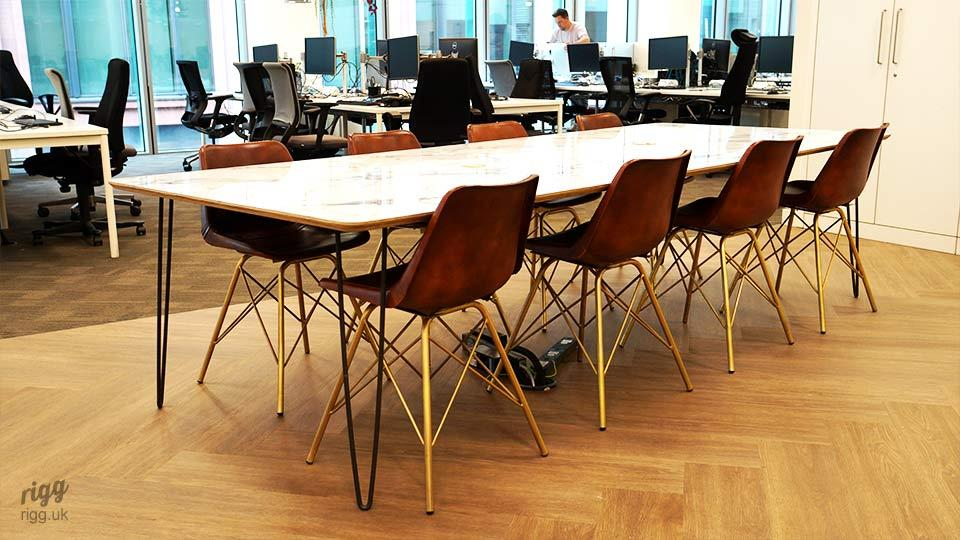 Marble & Birch Plywood Meeting Table - 8 Seater