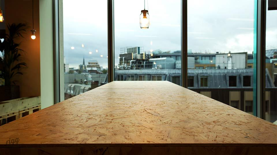 Office OSB Table Top, Looking Out Over London