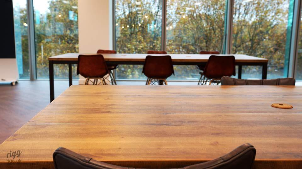 Solid Wood Top Meeting Table in Office Window