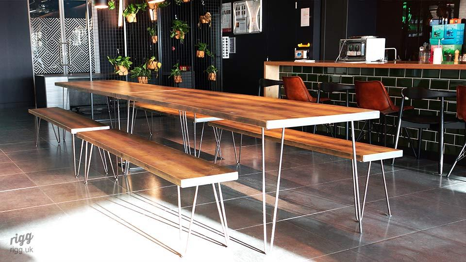 Wood & Metal Hairpin Table & Benches in Office Breakout Cafe