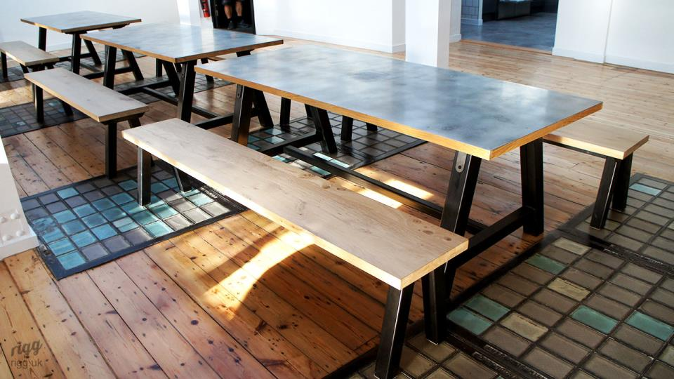 Large Modela Zinc A-Frame Tables with Metal & Oak Seating Benches
