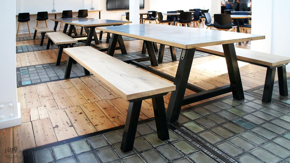 Office Rest Area Dining Tables & Benches with Thick Raw Metal Legs