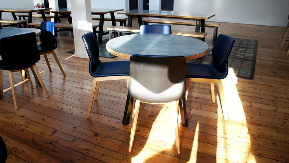 Round and Rectangular Zinc Tables with Oak Seating Benches