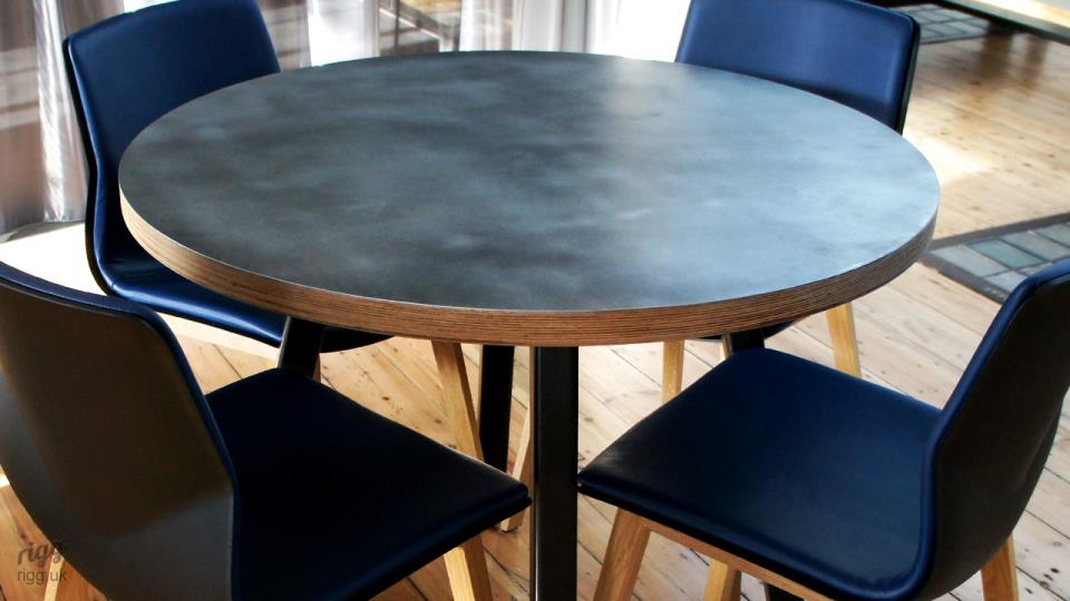 Round Plywood & Zinc Top Table - Stance