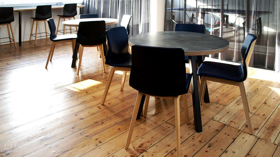 Round Stance Tables with Zinc & Plywood Top in Workspace Installation