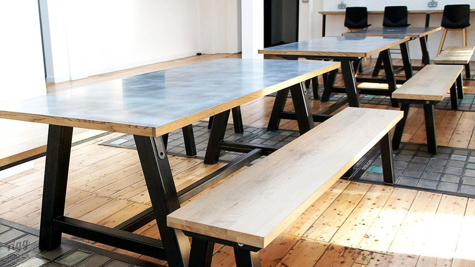 Workspace Table & Benches with Zinc & Oak