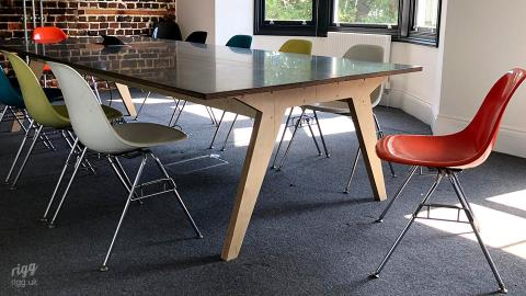 Large Zinc Top Plywood Meeting Table with Power, Data & Cable Management