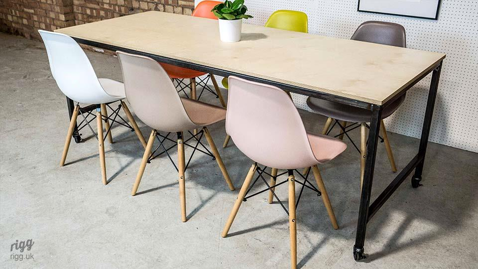 30B Industrial Plywood Table on Castors