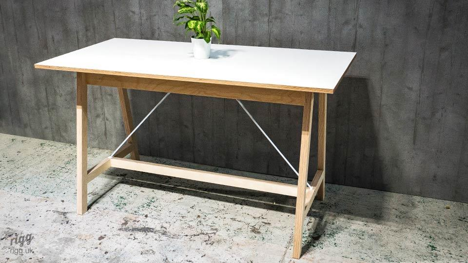 High Office Table with Plywood Wooden Legs