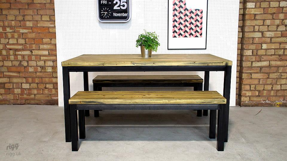Industrial Office Table and Benches