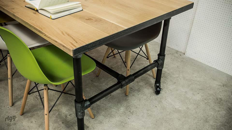 Industrial Pipe Table on Castors
