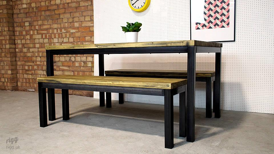 Industrial Table and Benches for Offices